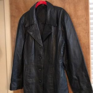 Black Leather Walking Length Jacket
